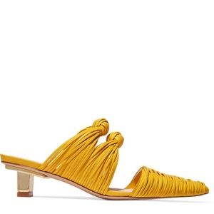 $390 Cult Gaia Paige Knotted Mules Size 41 Yellow